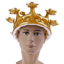 Kids Adults Gold Inflatable Star Crown Balloon Hat Pool Floats Decoration Summer Swimming Circle Party Ring Fun Water Toys(China)