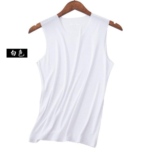 No trace Summer Cool Men Vest Cotton Tank Tops Underwear Mens Undershirt Transparent Shirts Male Bodyshaper Fitness sleeveless 2