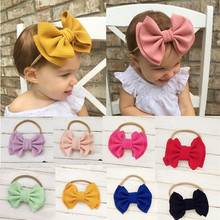 купить Toddler Girl Baby Big Bow Hairband Kid Headband Stretch Knot Head Accessories  Hairbands Turban Knot онлайн