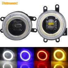 2 חתיכות מלאך עין ערפל אור 30W 8000LM רכב LED ערפל מנורת DRL לטויוטה Hilux קורולה Fortuner מטריקס IQ Aygo יאריס Verso Estima