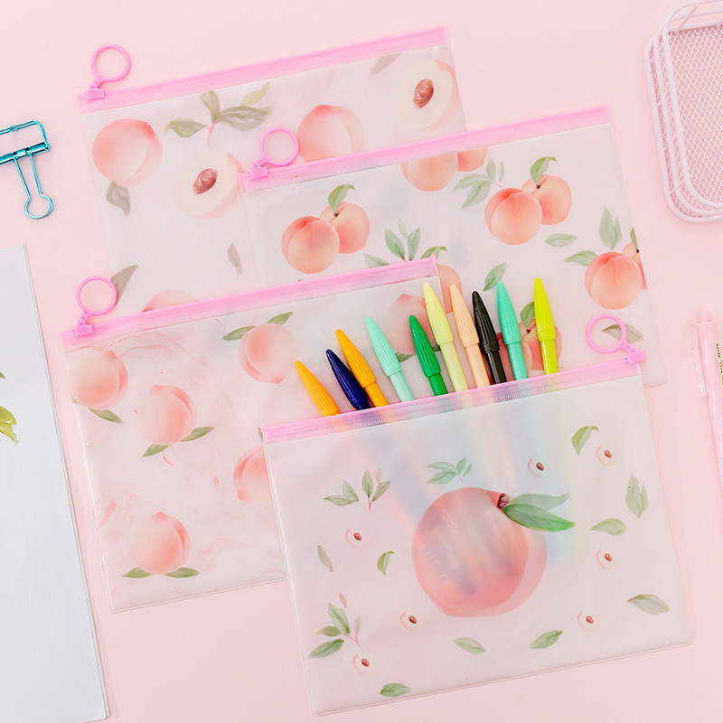 Pink Peach Ring Zipper PVC File Folder Document Filing Bag Stationery Bag