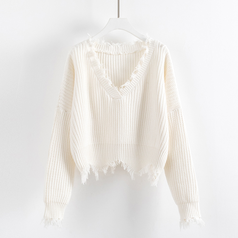 Knitted Sweater For Women Spring Autumn Ripped V Neck Loose Sweater Pullovers Oversized Ladies Tassel Tops White Black 2020