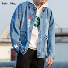 Being Vigor Men Denim Jean Jacket Men High Quality Cowboy Washing Jacket Men Hiphop Coat Outerwear Top Chaqueta Hombre 2019(China)
