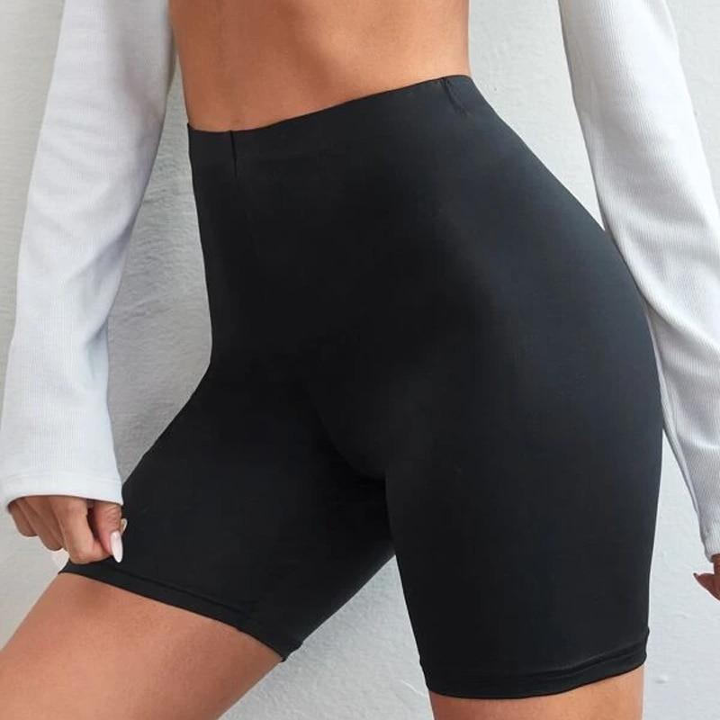 Шорты женские тонкие для фитнеса, повседневные Модные байкерские шорты с завышенной талией, облегающие брюки до колен, черные велосипедные ...