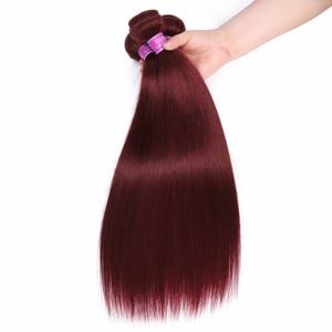 Image 4 - Mèches brésiliennes avec Frontal, Cheveux naturels pré colorés, avec Frontal, couronne Chic humaine 99J
