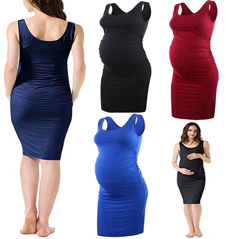 2018 WOMEN'S Dress Summer AliExpress EBay Pregnant Women Sleeveless-Loose-Fit Dress Casual Plastic Waist Dress 6607