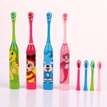 Детская электрическая зубная щетка с мультяшным рисунком, двухсторонняя зубная щетка, электрическая зубная щетка для детей с головкой 2 шт