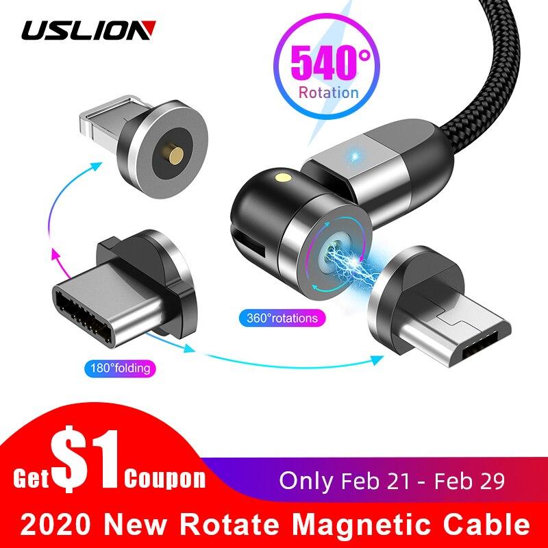 USLION 2020 Новый 540 градусов вращающийся магнитный кабель Micro USB Type C кабель Магнитный зарядный кабель для iPhone 11 Pro Max Data Line