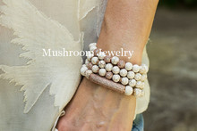 цена на Boho Howlite Beads Rose Gold Pave Zicro And Bar White Turquoise Beaded Stretch Bracelet