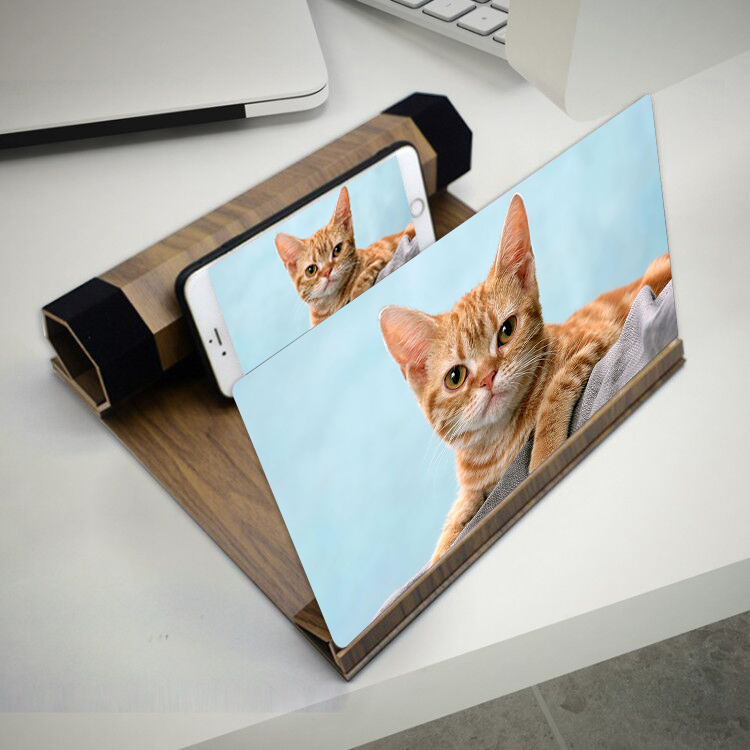 12 Inch 3D HD Movie Video Amplifier Retro Wooden Screen Magnifier Cell Phone With Foldable Holder Stand For iPhone Smart Phone image