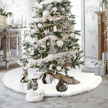 Different Sizes White Plush Christmas Tree Skirt Christmas Tree Base Ornaments Soft Faux Fur Carpet For Home Xmas Floor Decor