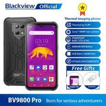 Blackview Wodoodporny smartphone, wersja globalna, telefon komórkowy z obrazem termowizyjnym, bateria 6580 mAh, Android 9, 6 GB, 128 GB, BV9800 pro, Helio P70