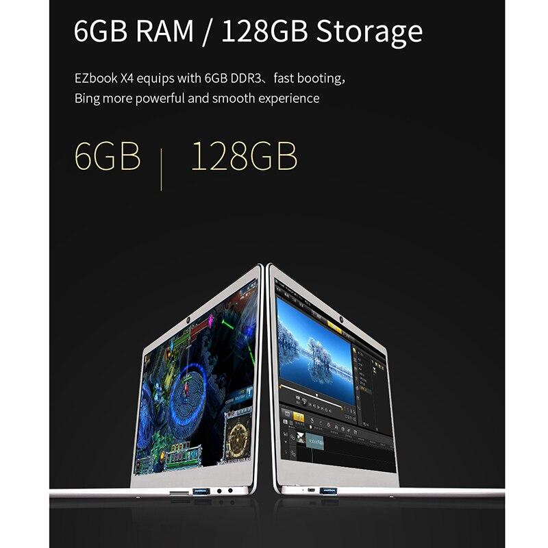 Cavalier Ezbook X4 ordinateur portable 14 pouces sans lunette Ips Ultrabook Intel Celeron J3455 6Gb Ram 128Gb Rom ordinateur portable 2.4G/5G Wifi avec Backli - 6
