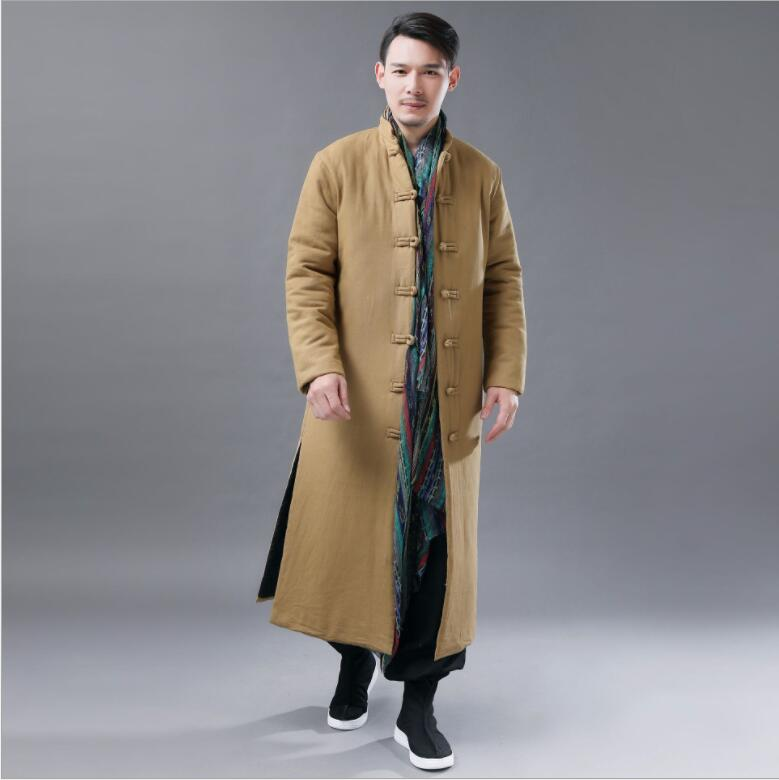 Winter Lengthened Cotton Long Clothes Chinese Retro National Style Men Cotton Padded Robe Solid Color Leisure Stand Collar Robe