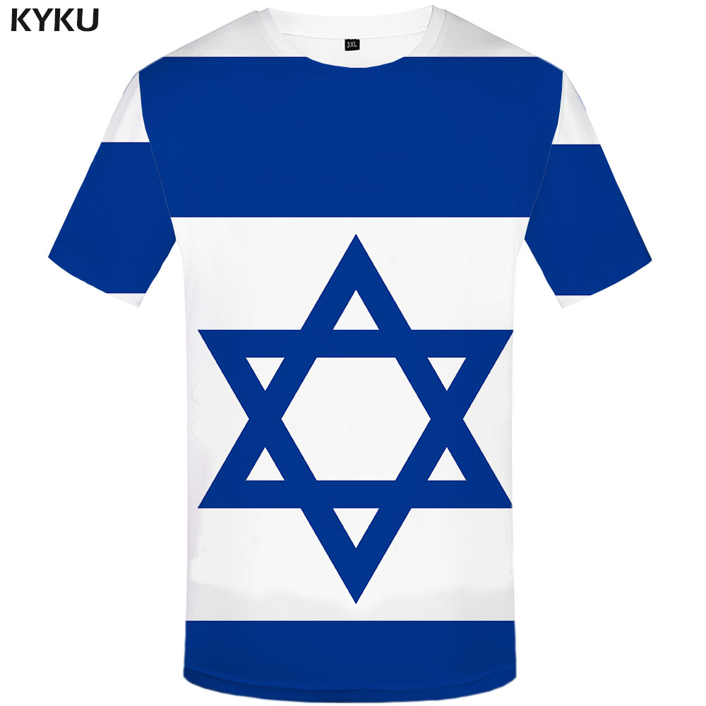 Funny T Shirts Israel Flag T Shirt Men Israel Tshirts Casual Geometric Tshirt Printed Blue T-shirts 3d Harajuku Anime Clothes