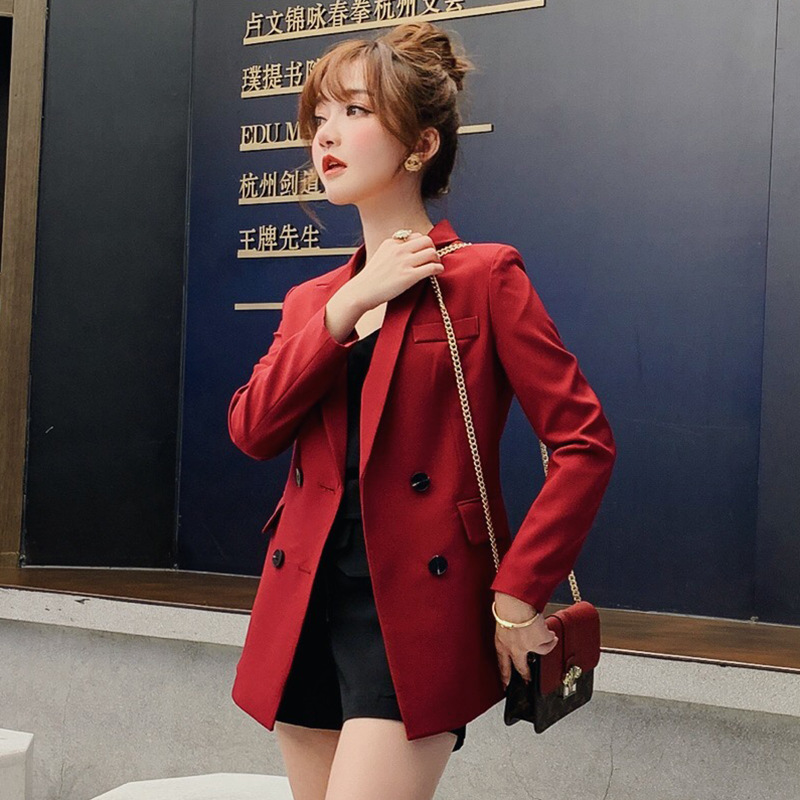 Female New 2019 Spring And Autumn Korean Version Small Suit Loose Plus Size Full Sleeve Suit Jacket Double Breasted Women Blazer