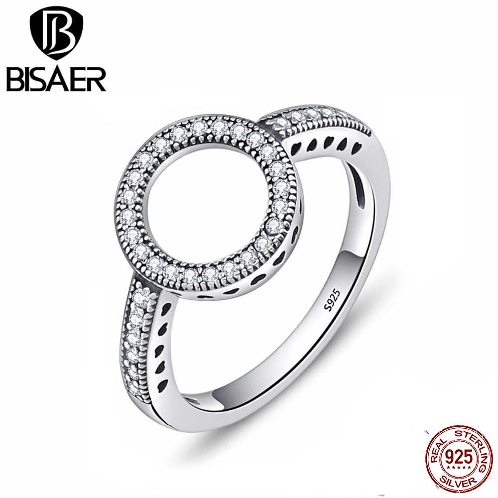Real 925 Sterling Silver Ring Clear Cubic Zircon Forever Round Circle Finger Rings for Women Wedding Engagement Jewelry GXR041