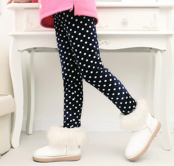 VEENIBEAR/осенне-зимние штаны для девочек, бархатные плотные теплые леггинсы для девочек, детские штаны, одежда для девочек на зиму, От 2 до 7 лет - Цвет: baiyuandian