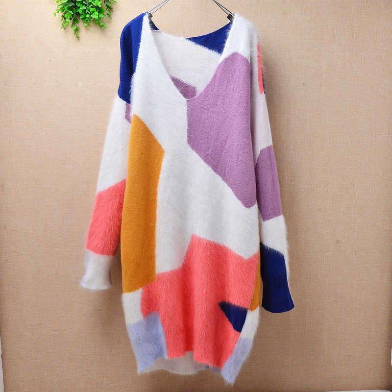 Multi color print sweater loose angora rabbit fur autumn coat o-neck long sleeves basic pullover blouses cute sweater gril  wear