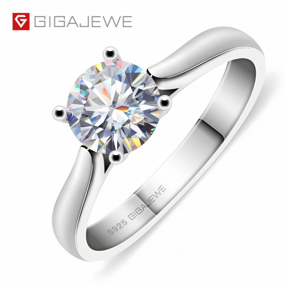 GIGAJEWE 1ct 6.5mm Round Cut EF VVS1 Moissanite 925 Silver Ring Diamond Test Passed Fashion Love Token Women Girlfriend Gift