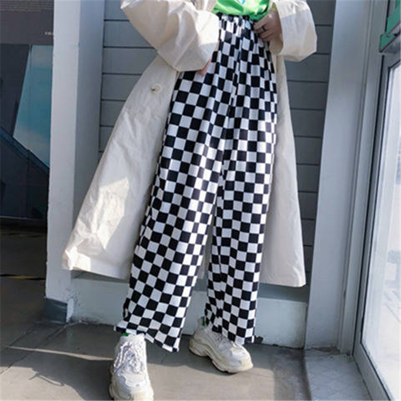 Cool Checkered Trousers Women Autumn Casual Slim Pockets Loose Pants Black White Streetwear 2020 Harajuku Plaid Womens Pants