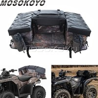 ATV Cargo Bag Rear Rack Gear Bag 600D Waterproof Fabric with Topside Bungee Tie Down Storage Padded Bottom Multi compartment