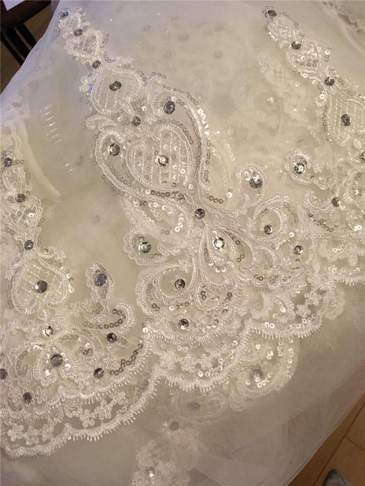 Une couche Tulle cathédrale mariage voile avec peigne dentelle bord strass 2020 mariée accessoires de mariée 3M de Long blanc ivoire - 5
