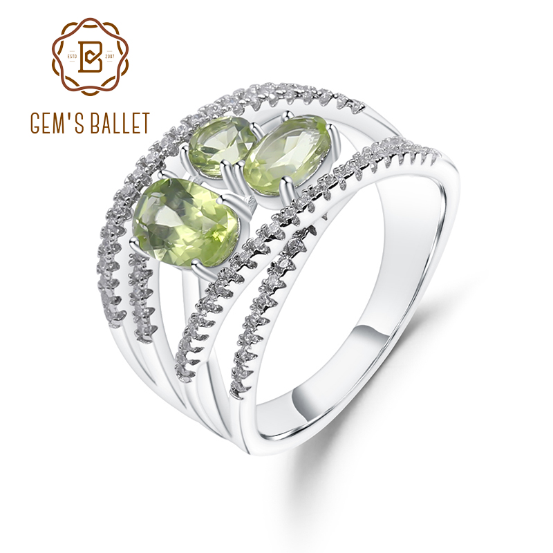 GEM'S BALLET 1.69Ct Natural Peridot Criss-Cross Ring 925 Sterling Silver Gemstone Finger Rings For Women Anniversary Jewelry