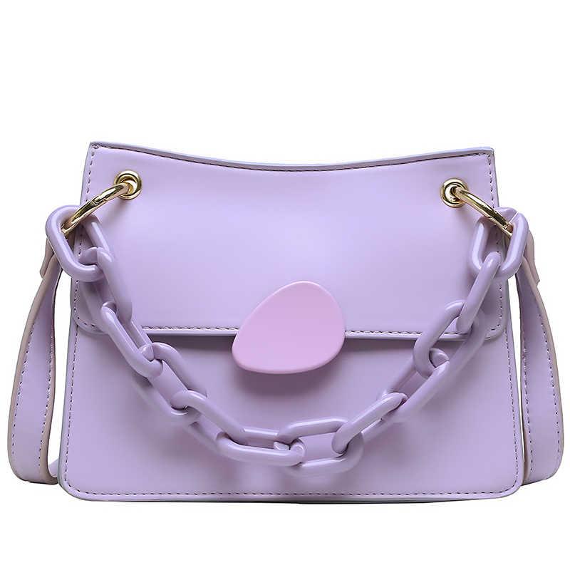 Однотонная квадратная сумка-тоут YL с откидной крышкой 2020, модная Высококачественная женская дизайнерская сумка из искусственной кожи, сумка-мессенджер на плечо с цепочкой