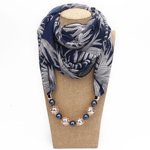 Bead pendant neck scarf European multi-functional clothing print edgo necklace