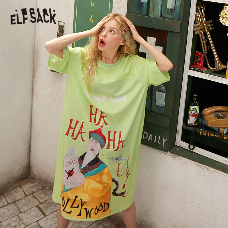 ELFSACK Black Original Graphic Print A Line Casual Dress Women 2020 Spring Green New Half Sleeve Korean Ladies Daily Dresses