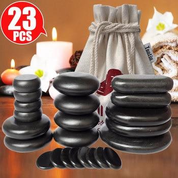 23pcs/set Hot Massage Energy Body Basalt Stone set Beauty Salon SPA with Thick Canvas Heating bag healthcare back pain relieve