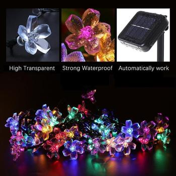 20/50LED Solar Power Cherry Blossom String Light Yard Fairy Decorative Lamp