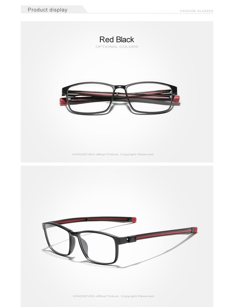 KINGSEVEN TR90 Glasses Frame Men Ultralight Square Myopia Prescription Eyeglasses 2020 Metal Full Optical Frames Eyewear