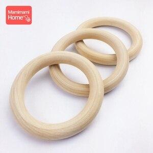 Image 5 - Mamihome 100 sztuk 25mm 70mm drewna ząbkowanie drewniane pierścień naszyjnik DIY grzechotki drewniane puste gryzak pielęgniarka prezenty towary dla dzieci zabawki