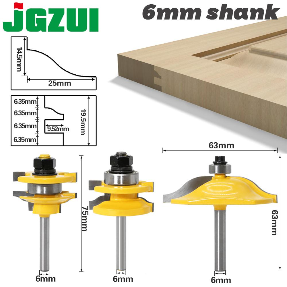 1-3PCS 6mm Shank Rail & Stile Router Bits-Matched Standard Ogee Door Knife Woodworking Cutter Tenon Cutter For Woodworking Tools
