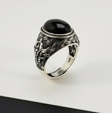 925 Sterling Silver Vintage Style Black Agate Natural Stone Rings For Men Women Resizable Ring
