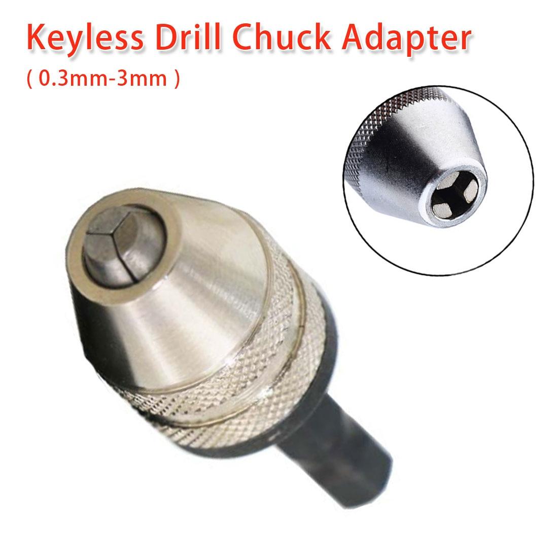Screwdriver Impact Driver Adaptor 0.3-3mm Keyless Drill Chuck Adapter Hex Shank Drill Bit Tool Shaft Chuck For Electric Grinder