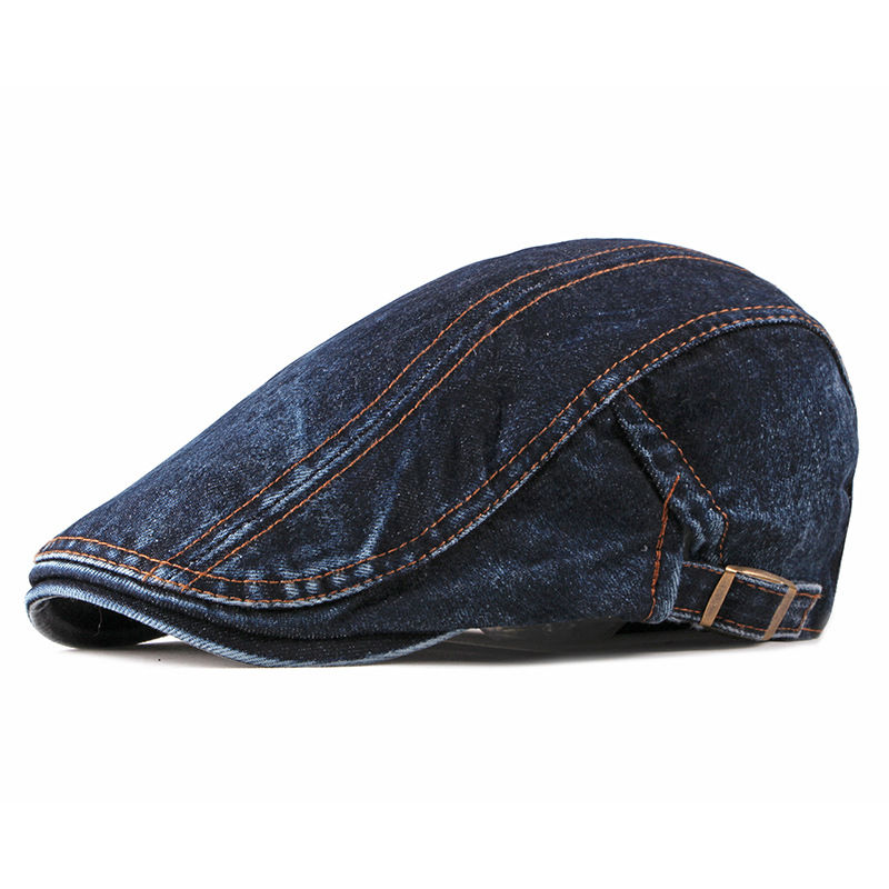 Spring Summer Solid Color Newsboy Caps Men Washed Denim Cotton Flat Peaked Cap Women Painter Beret Hats 16