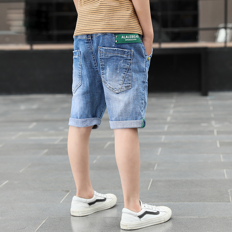 Short Boys Summer Casual Denim Short Jeans Pants Letter Children Cowboy Short Cotton Trousers Kids Bottoms Beach 4-14Y 1