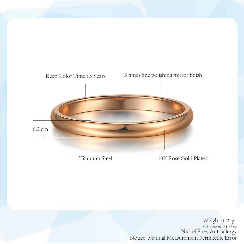 Thép Titan Hoa Hồng Vàng Chống Dị Ứng Mịn Đám Cưới Đơn Giản Các Cặp Đôi Nhẫn Họa Tiết Bi Hoa Cho Người Đàn Ông Hay Phụ Nữ Tặng Jewellry R830