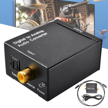 Optical Digital Stereo Audio SPDIF Toslink Coaxial Signal To Analog Converter DAC Jack Amplifier Decoder Adapter With 2*RCA image