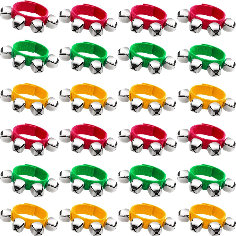 Band Wrist Bells Bracelets Jingle Musical Ankle Bells Rhythm Instrument Percussion Party Favors For Christmas School Children (2