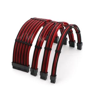 Image 1 - Kit de Cable de extensión básico 180 grados Mixed Corlor Sleeved ATX 24Pin/ 4 + 4 pines, PCI E 6 + 2Pin/ 6pin Cable de extensión de alimentación.