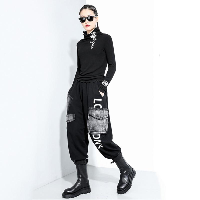 [EAM] Women Black Letter Printed Stitch Temperament T-shirt New Turtleneck Long Sleeve  Fashion Tide  Spring Autumn 2020 1Z835 6