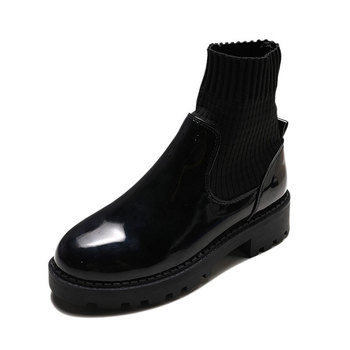 Autumn Winter Fashion Women Ankle Boots Round Head Thick Bottom Knitting+Leather Waterproof Woman Martin Snow