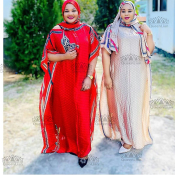 Length:150cm,Bust:190cm Free Size New  Chiffon Super Size African  Dashiki Traditional Party Dress with Scaf  For Lady(DBF05#)