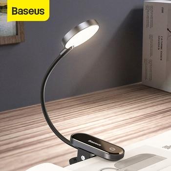 Baseus USB Led Light Rechargeable Mini Clip-On Desk Lamp Light Flexible Nightlight Warm Reading Lamp For Travel Bedroom Book