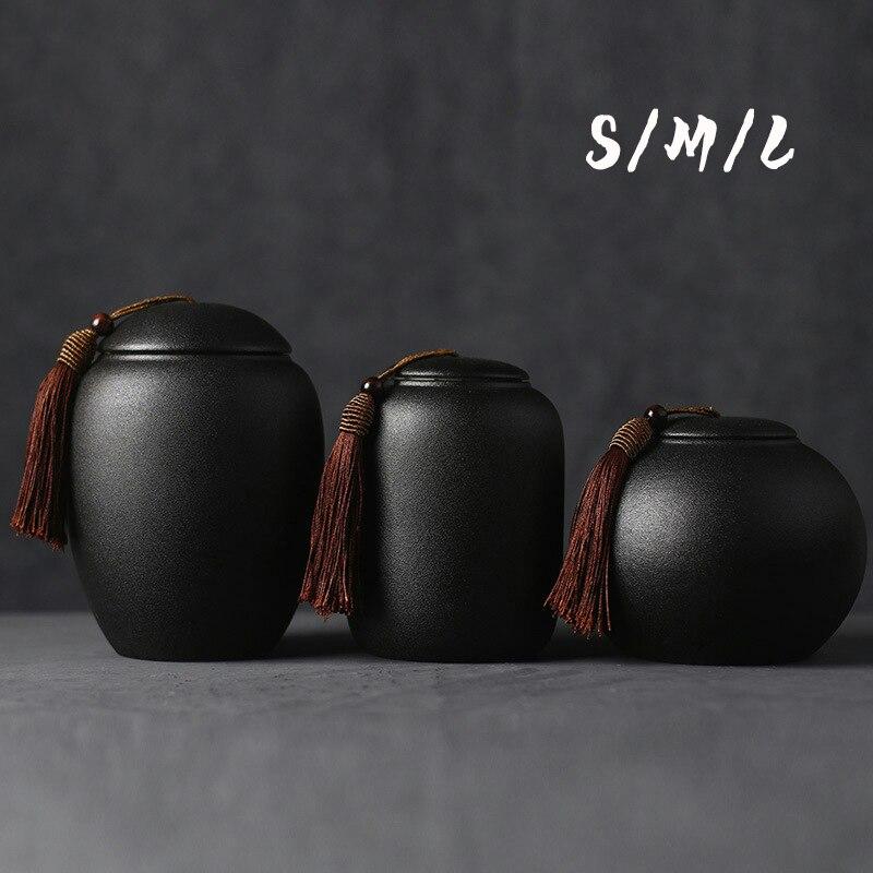 Black Ceramics Ash Urn Sealed Cremation Funeral Ashes Keepsake Small Animals Pet Dog Cat Memorial Suitable Fireplaces Burial