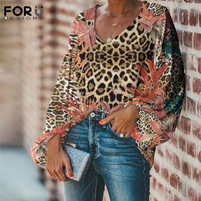 FORUDESIGNS Leopard With Flower Design Women's Fashion V Neck Blusas Ladies Loose  Lantern Sleeve Elegant Tops for Office Girls 1
